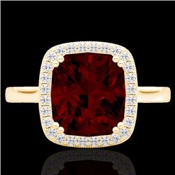 Natural 3 CTW Garnet & Micro Pave Diamond Certified Halo Solitaire Ring 18K Yellow Gold - 22845-REF#