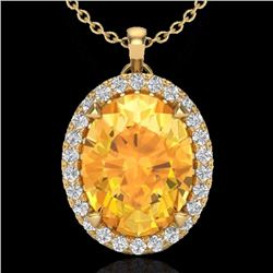 Natural 2.75 CTW Citrine & Micro Diamond Halo Solitaire Necklace 18K Yellow Gold - 20586-REF#-42N8A