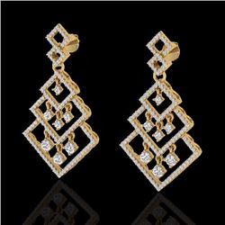 Natural 3 CTW Micro Pave Diamond Certified Earrings Dangling Designer 14K Yellow Gold - 22490-REF#-1