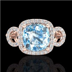 Natural 3.75 CTW Topaz & Micro Diamond Certified Ring 14K Rose Gold - 23013-REF#-61K8W