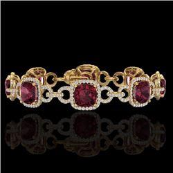 Natural 30 CTW Garnet & Micro Diamond Certified Bracelet 14K Yellow Gold - 23025-REF#-267Z7R