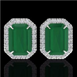 Natural 10.40 CTW Emerald & Micro Pave Diamond Certified Halo Earrings 18K White Gold - 21224-REF#-7