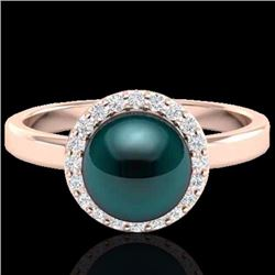 Natural .25 CTW Micro Pave Halo Diamond Certified & Peacock Pearl Ring 14K Rose Gold - 21635-REF#-41