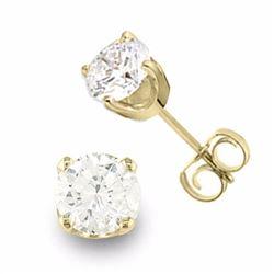 Genuine 0.90 ctw Diamond Solitaire Stud Earrings 14K Yellow Gold - 13039-#90G7R
