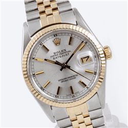 Pre-owned Excellent Condition Authentic Rolex Quickset Men's 18K/Stainless Steel DateJust Silver Dia