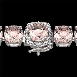 Natural 35 CTW Morganite & Micro Pave Diamond Halo Bracelet 14K White Gold - 23315-REF#-364X7T