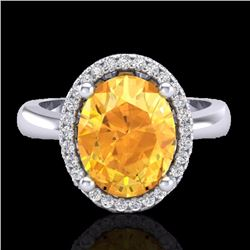 Natural 2.50 CTW Citrine & Micro Pave Diamond Certified Ring Halo 18K White Gold - 21101-REF#-38H3M