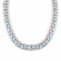 49.85 CTW AQUAMARINE & DIAMOND SI-I CERTIFIED ETERNITY TENNIS NECKLACE - 29501-#452T8X