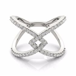 0.60 CTW Certified SI-I Diamond Designer Fashion Ring 18K White Gold - 28286-#69A7V
