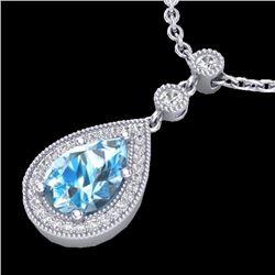 Natural 2.25 CTW Sky Blue Topaz & Micro Pave Diamond Necklace Designer 18K White Gold - 23142-REF#-3