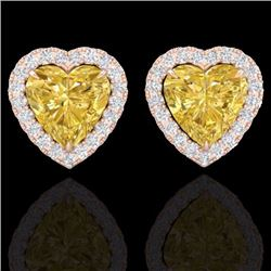 Natural 2 CTW Citrine & Micro Pave Diamond EARRRing Heart Halo IN 14K Rose Gold - 21201-REF#-29A2X