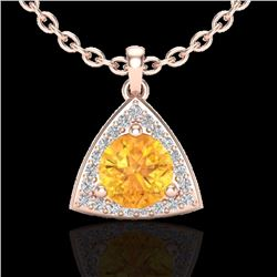 Natural 1.50 CTW Citrine & Micro Pave Halo Solitaire Diamond Necklace 14K Rose Gold - 20520-REF#-30R