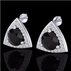 Natural 3.50 CTW Micro Pave Halo Solitaire Black Diamond SI Stud Earrings 18K White Gold - 20183-REF