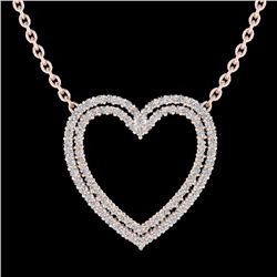 Natural 2 CTW Diamond Certified Double Heart Halo Designer Necklace 14K Rose Gold - 20480-REF#-92N7A
