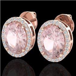 Natural 5.50 CTW Morganite & Micro Diamond Halo Solitaire Earrings Ring 14K Rose Gold - 20253-REF#-1