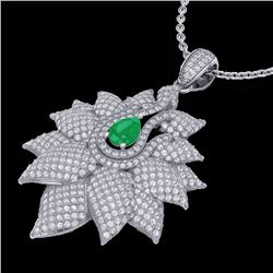 Natural 3 CTW Emerald & Micro Diamond Certified Designer Necklace 18K White Gold - 22561-REF#-186Y8Z