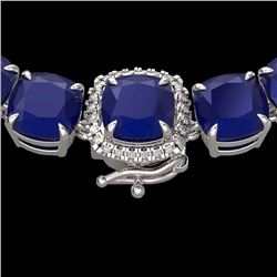 Natural 116 CTW Sapphire & Diamond Halo Micro Solitaire Necklace 14K White Gold - 23344-REF#-374Y2Z