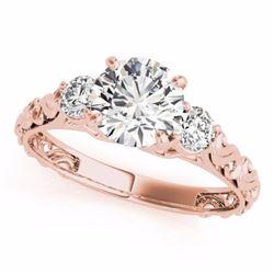 0.75 CTW Certified SI-I Diamond 3 stone Bridal  Ring 18K Rose Gold - 28039-#90V4A