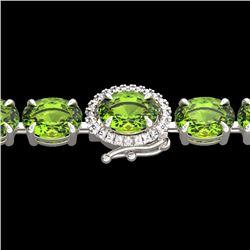 Natural 32 CTW Peridot & Diamond Tennis Micro Pave Halo Bracelet 14K White Gold - 23433-REF#-127R2H
