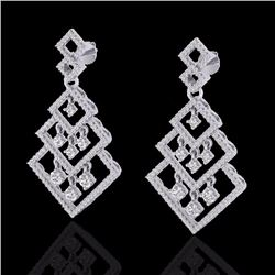 Natural 3 CTW Micro Pave Diamond Certified Earrings Dangling Designer 14K White Gold - 22488-REF#-16