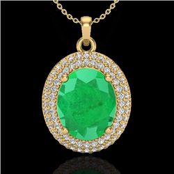 Natural 4.50 CTW Emerald & Micro Pave Diamond Certified Necklace 18K Yellow Gold - 20563-REF#-78T5K