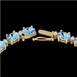 Natural 24 CTW Aquamarine & Diamond Certified Eternity Tennis Necklace 10K Yellow Gold - 21585-REF#-