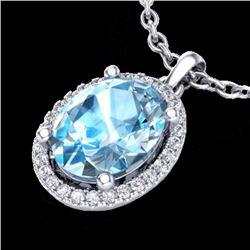 Natural 3 CTW Sky Blue Topaz & Micro Pave Diamond Necklace Halo 18K White Gold - 21073-REF#-39K5W
