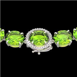 Natural 112 CTW Peridot & Diamond Halo Micro Solitaire Necklace 14K White Gold - 22307-REF#-499G8N