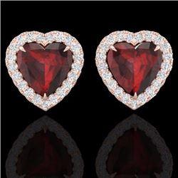 Natural 2.22 CTW Garnet & Micro Pave Diamond Earrings Heart Halo IN 14K Rose Gold - 21204-REF#-29Z3R