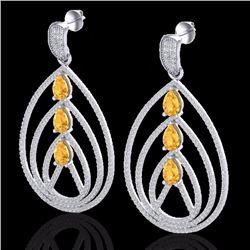 Natural 4 CTW Citrine & Micro Pave Diamond Certified Designer Earrings 18K White Gold - 22452-REF#-2