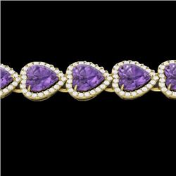 Natural 23 CTW Amethyst & Micro Pave Bracelet Heart Halo IN 14K Yellow Gold - 22611-REF#-260K3W