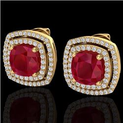 Natural 3 CTW Ruby & Micro Pave Diamond Certified Halo Earrings 18K Yellow Gold - 20170-REF#-83X7T