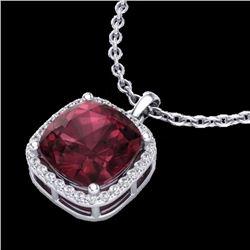 Natural 6 CTW Garnet & Micro Pave Halo Diamond Necklace Solitaire 18K White Gold - 23081-REF#-45F8V