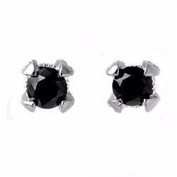 Genuine 1.0 ctw Black & White Diamond Solitaire Earrings 18K White Gold - 11801-#32R4H