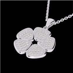 Natural .80 CTW Micro Pave Diamond Certified Designer Necklace 14K White Gold - 22601-REF#-63K8W