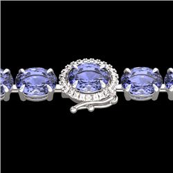 Natural 32 CTW Tanzanite & Diamond Eternity Tennis Micro Halo Bracelet 14K White Gold - 23440-REF#-3