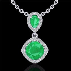 Natural 3.50 CTW Emerald & Micro Diamond Certified Necklace Designer Halo 10K White Gold - 20544-REF