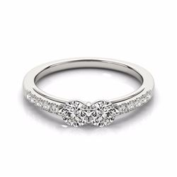 0.85 CTW Certified SI-I Diamond 2 stone Bridal  2 Stone Ring 18K White - 28233-#94M2G
