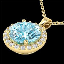 Natural 2 CTW SKY Topaz & Halo Diamond Micro Pave Necklace Solitaire 18K Yellow Gold - 21556-REF#-34
