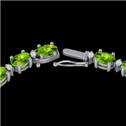 Natural 34 CTW Peridot & Diamond Certified Tennis Necklace 10K White Gold - 21599-REF#-177K9W