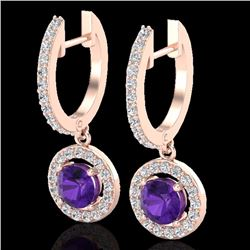 Natural 1.75 CTW Amethyst & Micro Pave Halo Solitaire Diamond Earrings 14K Rose Gold - 23246-REF#-57