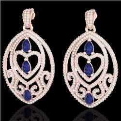 Natural 7 CTW Tanzanite & Micro Pave Diamond Heart Earrings Designer IN 14K Rose Gold - 21162-REF#-2