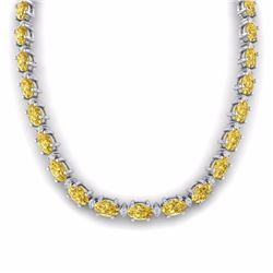61.85 CTW CITRINE & DIAMOND SI-I CERTIFIED ETERNITY TENNIS NECKLACE - 29503-#252X8A
