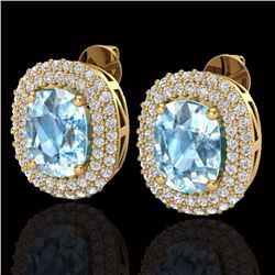 Natural 6 CTW Sky Blue Topaz & Micro Pave Diamond Certified Halo Earrings 10K Yellow Gold - 20113-RE