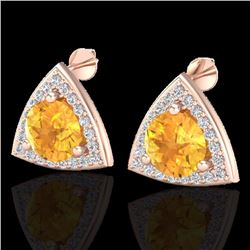Natural 3 CTW Citrine & Micro Pave Halo Solitaire Diamond Stud Earrings 14K Rose Gold - 20184-REF#-4