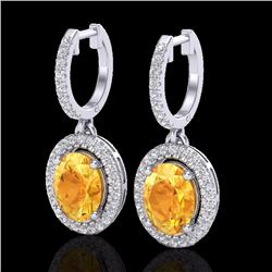 Natural 3.50 CTW Citrine & Micro Pave Diamond Earrings Solitaire Halo 18K White Gold - 20320-REF#-80