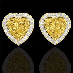 Natural 2 CTW Citrine & Micro Pave Diamond Earrings Heart Halo IN 14K Yellow Gold - 21203-REF#-29G2N