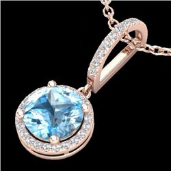 Natural 2.75 CTW Sky Blue Topaz & Micro Pave Diamond Certified Necklace  14K Rose Gold - 23201-REF#-