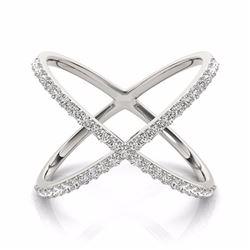 0.55 CTW Certified SI-I Diamond Designer Fashion Ring 18K White Gold - 28260-#65K2R