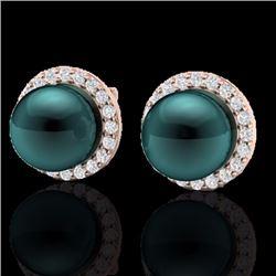 Natural .50 CTW Micro Halo Diamond Certified & Peacock Pearl Earrings 14K Rose Gold - 21498-REF#-43K